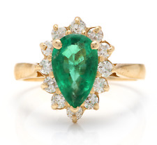 3.05Ct Natural Emerald & Diamond 14K Solid Yellow Gold Ring
