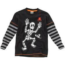 Halloween Boys Novelty Skeleton print Long Layered Sleeve Striped Top Black Grey