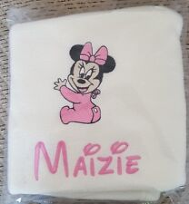 Personalised embroidered baby blanket. Baby Minnie or Mickey