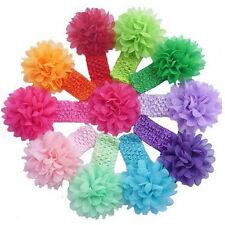 10 pièces mousseline de soie bébé fille serre tête fleur doux élastique bandeau