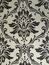 Damask Black - Cream Feature Wallpaper 265662 CHEAP BARGAIN!