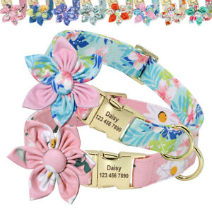 Personalised Dog Collar Flower Studded Floral Nylon ID Name Tag Collar Engraved