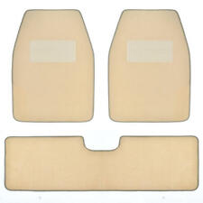 Set of 3 Car Floor Mat - 2 Front 1 Rear Liner Light Beige Carpet for Truck SUV