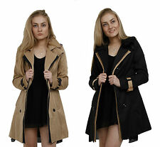 Ladies Fashion Trench Coat Mac Beige Black Button Up Tan Jacket 6 8 10 12 14 16
