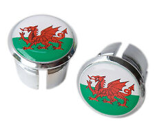 Welsh Flag Bicycle Handlebar Chrome Plastic Bar End Plugs, Bungs, Caps L'Eroica