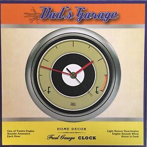 "Vintage Look Car Fuel Gauge Wall Clock Engine Sound Battery Dads Garage 8"" Round"