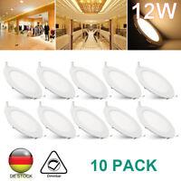 10× 12W Dimmbar LED Einbaustrahler Panel Deckenleuchte Lampe Ultraslim Warmweiß