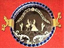 ART DECO Blue COBALT Glass VANITY Perfume Tray DOLPHIN Handle Hollywood Regency
