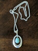 """VINTAGE TAXCO RR Mexico 925 Sterling Silver Pendant & 2mm Chain Necklace 20"""""""