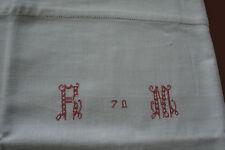 grand monogramme RM, n°268  bordure de drap ancien, 171x40cm, cantonnière