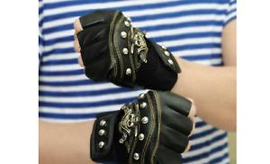 Motorcycle Skull Fingerless Leather Gloves Men Harley Touch Half Fingertip L