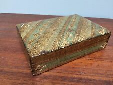 Florentine Toleware Gilt Gesso Wood Card/Trinket Box 2 Compartment Italy