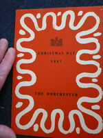 old menu The Dorchester Hotel Christmas day 1947 film tv television prop