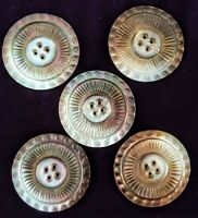 """Antique Smokey MOTHER OF PEARL 2"""" BUTTONS Victorian Iridescent Carved"""