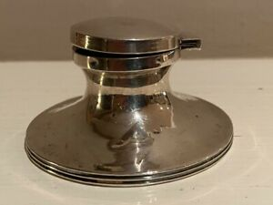 Antique 1800`s Hallmarked Sterling Solid Silver Hinged Ink well Condition