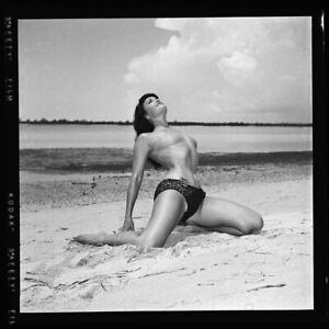Bettie Page UNPUBLISHED Original 1954 Camera Negative Bunny Yeager Topless PinUp