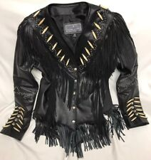 JR Fashion Leather Jacket Womens Small Western Fringe Beads Black Motorcycle