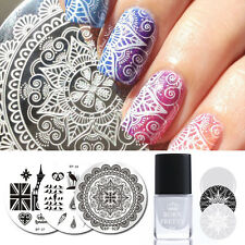 3Pcs Nail Stamping Plate White Stamp Polish Bird Theme Template Kit BORN PRETTY