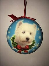 WEST HIGHLAND TERRIER Christmas Bauble with a Blue Background- Christmas Gift