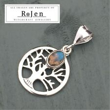 925 Sterling Silver Tree Of Life Labradorite Charm Pendant Pagan Wicca