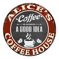 CPCH-0051 ALICE'S COFFEE HOUSE Chic Tin Sign Decor Gift Ideas