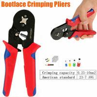 0.25-10mm² Bootlace Ferrule Hand Crimper Crimp Crimping Tool Plier Wire Cord End