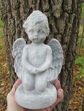 "Cement Angel Hope Statue, 8"" Garden Art of Concrete Antiqued Grey & White"