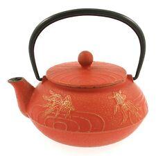 Iwachu Japanese Iron Teapot Tetsubin Gold and Cinnabar Goldfish