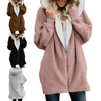 Winter Women Hooded Coat Plush Fleece Jacket Cardigan Loose Outwear Plus Size