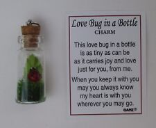 f Love Bug in a bottle Ladybug Charm pendant miniature good luck