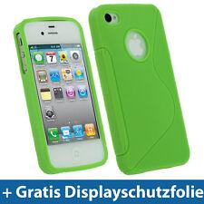 Grün Gel TPU Tasche für Apple iPhone 4 HD 4S 16GB 32GB 64GB Schutz Hülle Etui