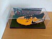 Fußballschuh Aubameyang signiert Arsenal London Autogramm England Fußball, Neu