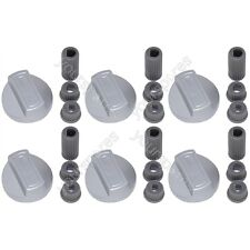 6 X Hotpoint Universal Cooker/Grill/Oven Control Knob and Adaptors Silver