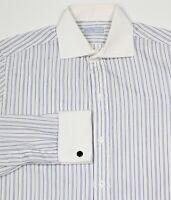 BOWRING ARUNDEL Savile Row Bespoke White/Blue Striped Cotton Dress Shirt 14-33