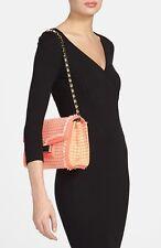 Kate Spade Carroll Park Coral Tweed Leather Scarlette Shoulder Evening Bag BOW