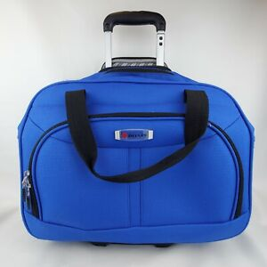 """Delsey Luggage Blue Softside 17"""" Rolling Carry On Duffel Bag Telescope Handle"""