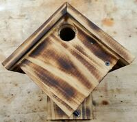 """5/8"""" Thick Pine Wren House w/Torched Finish. Sealed and Waterproofed."""