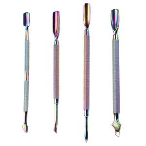 Nail Cuticle Pusher Tweezer Rainbow Cutter Nipper Clipper Dead Skin Remover Tool