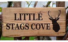 Personalised House Sign Stag Deer Custom Outdoor Wooden Name Plate Plaque Porch