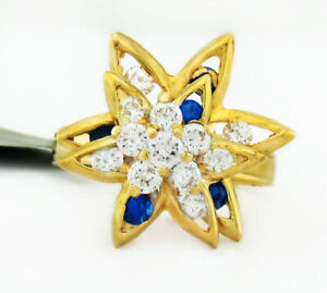WHITE & BLUE SAPPHIRES SPINNING TOP RING 14K GOLD ** New With Tag **