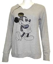NWT Disney Women's Sweaters Synthetic Leather Patch Mickey Hachi Gray XL
