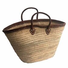 Palm French Market Wicker Shopping Holiday Basket with Leather Rim and Handles