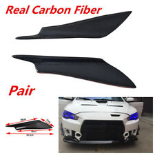 2Pcs Real Carbon Fiber Front Bumper Fins Canards Splitters Anti-collision Strip