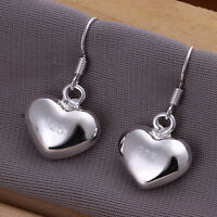 New 925 Sterling Silver Filled Solid Cute Love Heart Dangle Drop Hook Earrings