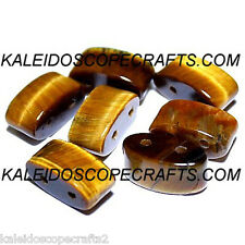 TIGER EYE NATURAL BEADS DOUBLE 2 HOLE BEAD OVAL 6X12MM OVALS