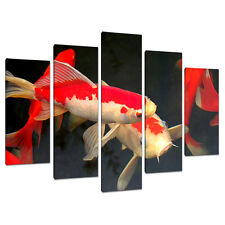 Set of 5 Pictures Black Red Canvas Wall Art Prints Koi Carp Fish 5094