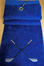 Embroidered, Blue BestTri-fold golf towel Crossed Clubs