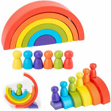 Rainbow Shape Children Kids Educational Gift Stacking Toy Wooden Craft 6 Colours