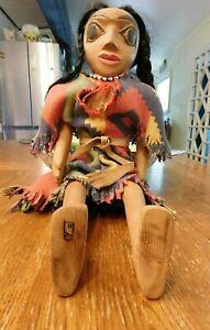 "RARE Ivan Otterlifter Northwest Coast Cherokee Hand Carved Articulate Doll 20"""