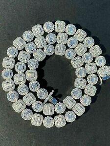 "14K White Gold Over Baguette Round Link Chain Men's Diamond Necklace Choker 20"""